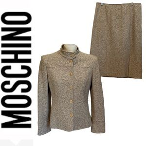 MOSCHINO COUTURE beige wool silk blend suit set